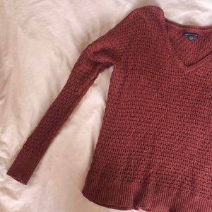 American Eagle Maroon Knit Sweater